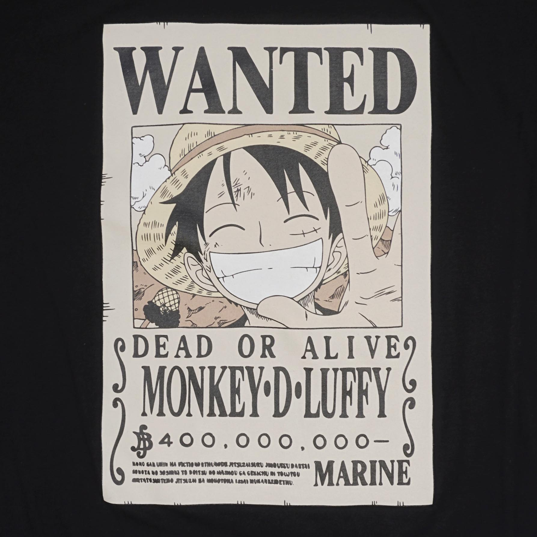 T-Shirt OP Wanted Luffy สีดำ