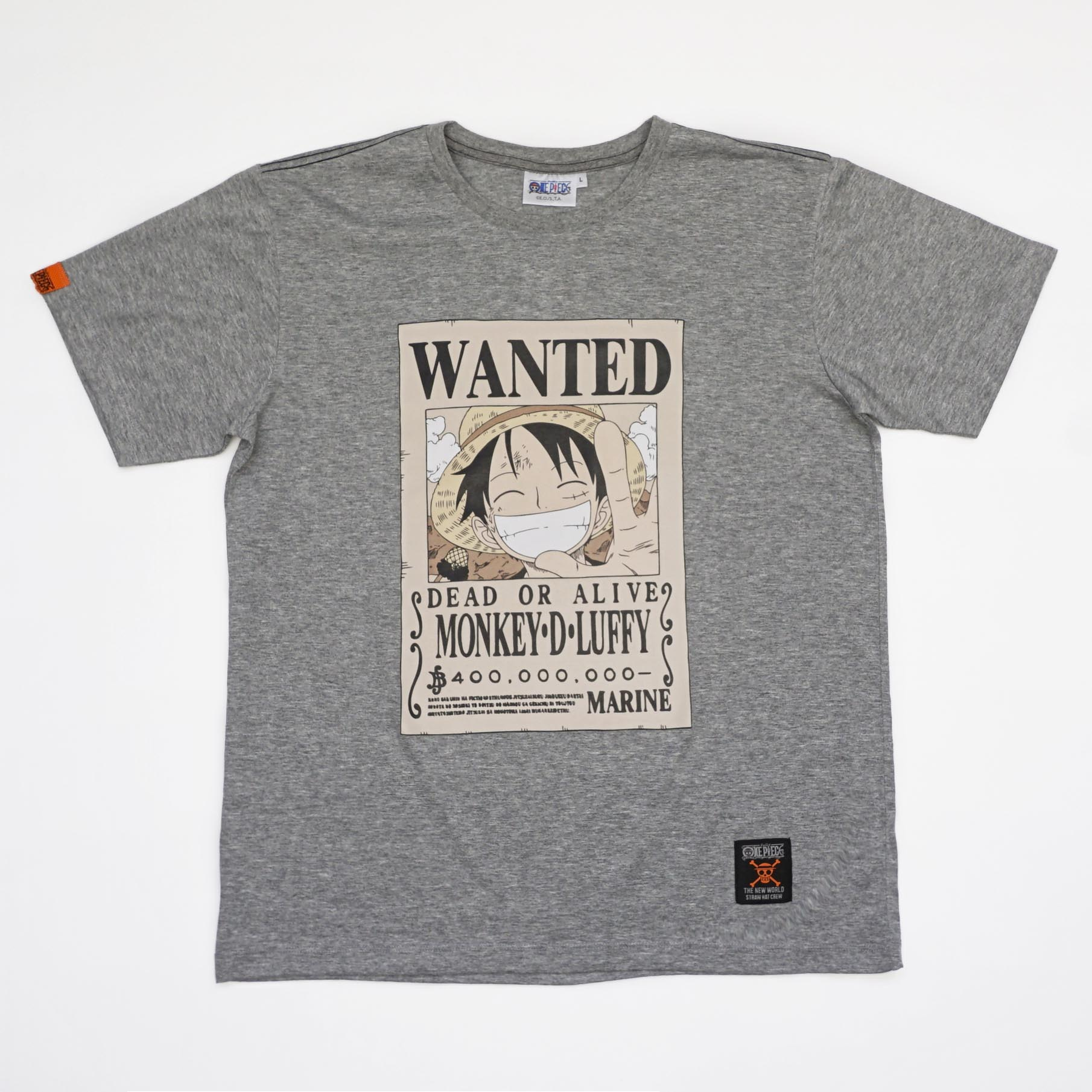 T-Shirt OP Wanted Luffy สีเทา