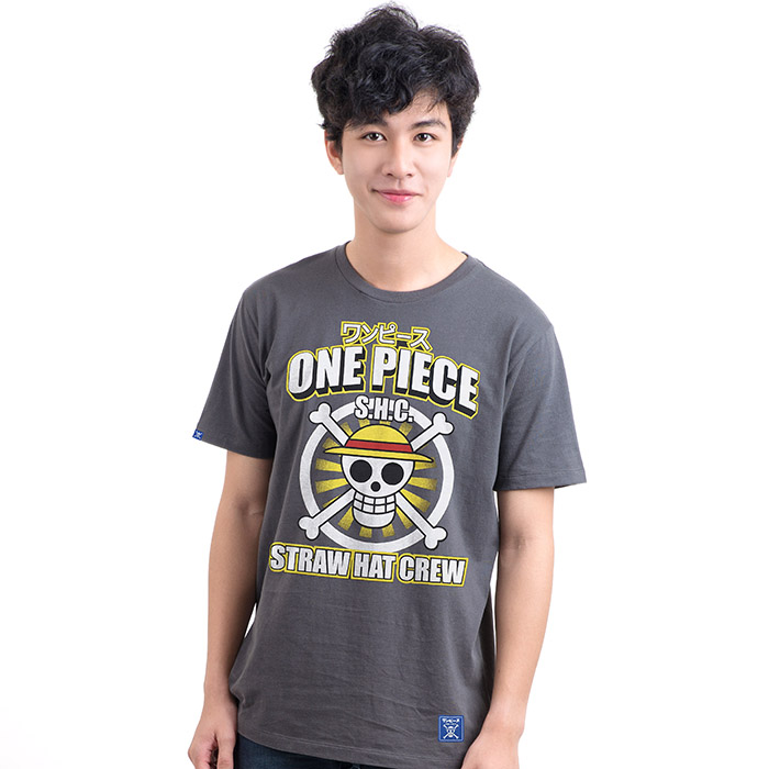 T-Shirt One Piece Icon Luffy สีเทา